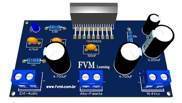 Amplificador Alta Eficiência 14.4V, 70W com  CI TDA1562Q + PCI