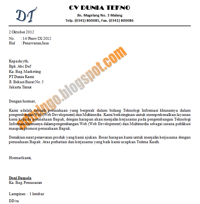 Contoh Surat Penawaran Jasa Admin Go