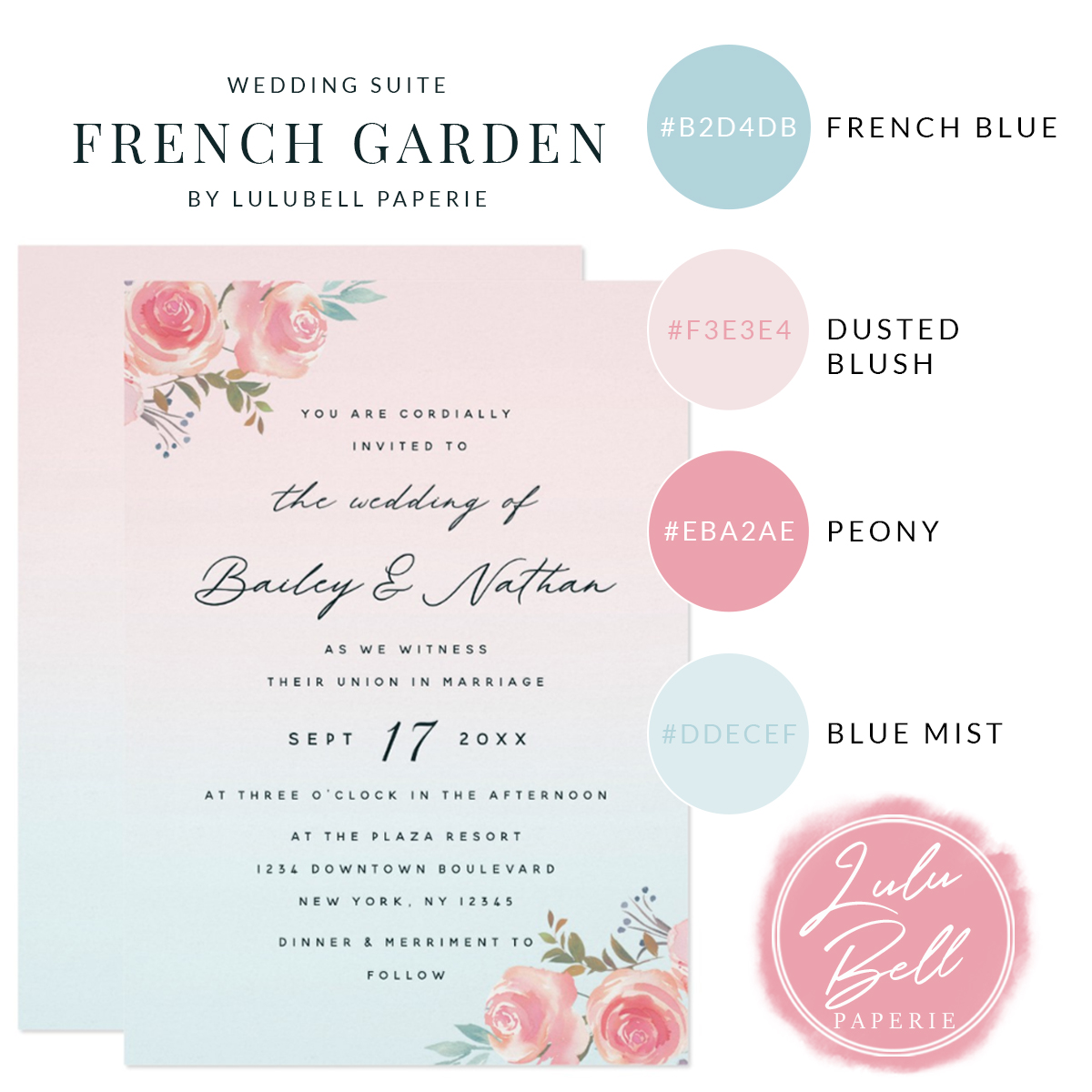 French Garden Floral Wedding Suite - Elegant Calligraphy Wedding Invitations and Color Swatches