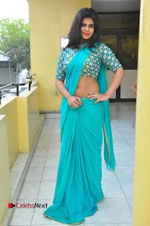 Telugu Actress Alekhya Stills in Green Saree at Swachh Hyderabad Cricket Press Meet  0090.JPG