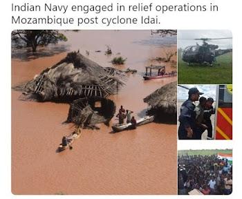 Indian Navy in Mozambique: चक्रवात प्रभावित मोजांबिक में  भारतीय नौसेना ने 192 की बचाई जान