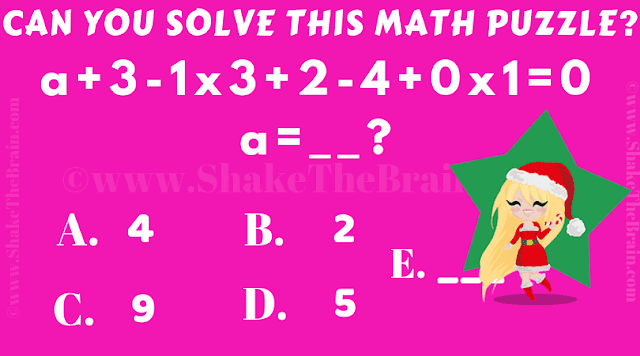 Can you solve this math puzzle? a+3-1x3+2-4+0x1=0, a = ?