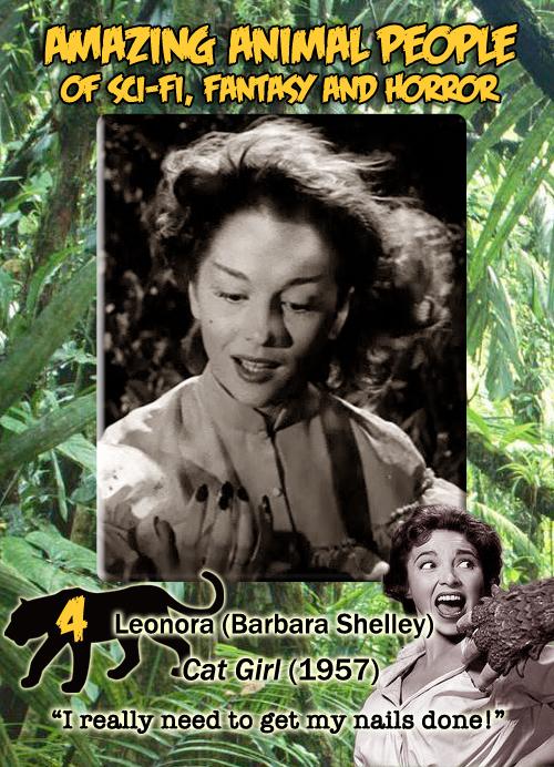 Amazing Animal People trading card #4: Leonora, Cat Girl, 1957