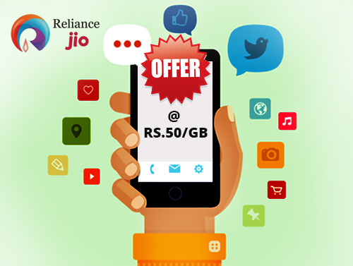 Reliance Jio offers free voice, free app and data @ Rs 50/GB