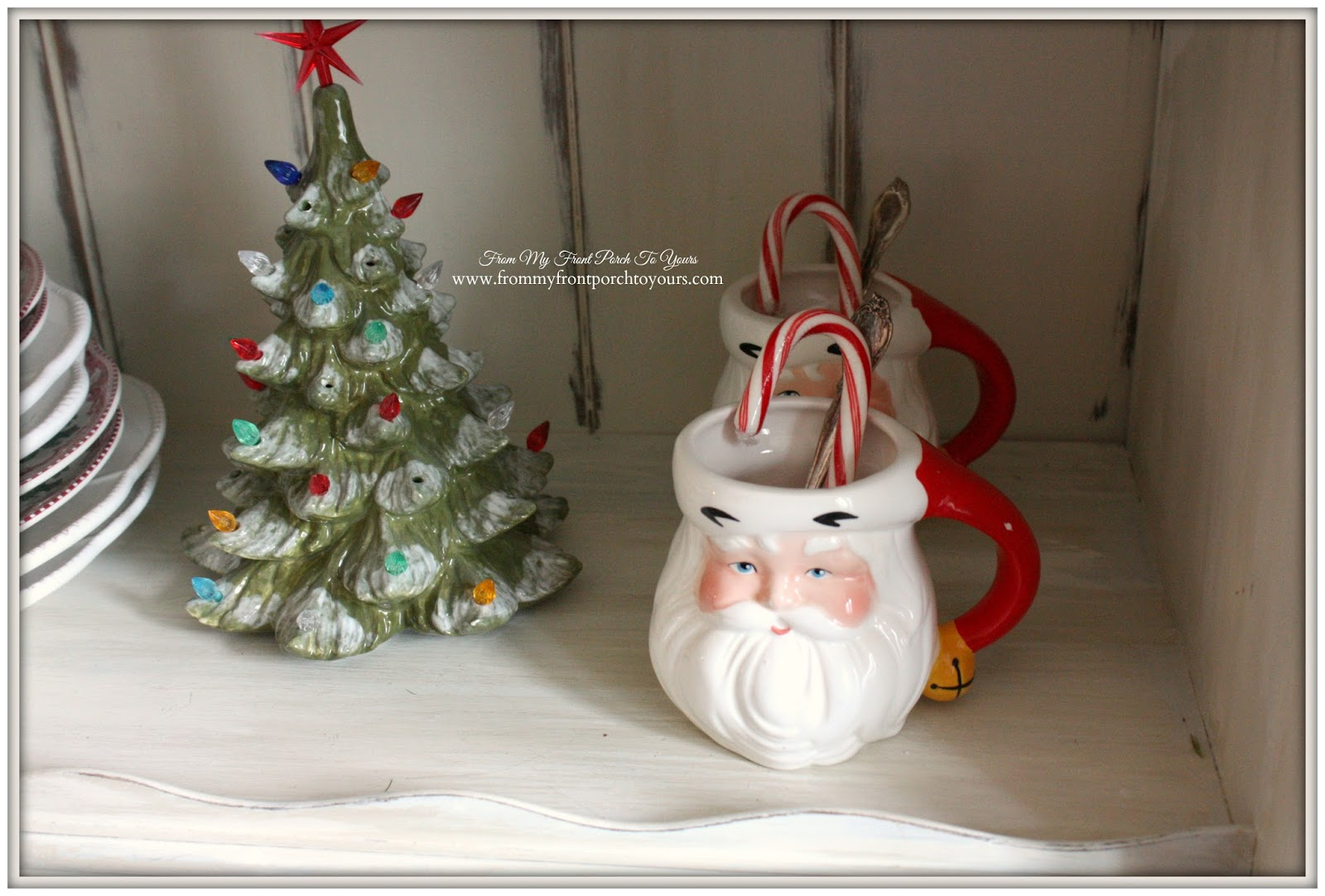 Vintage Santa Mugs-French Farmhouse Vintage Christmas Dining Room- From My Front Porch To Yours