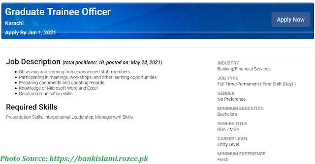 Bank Islami Graduate Trainee Officer Jobs 2021 Latest Apply Online