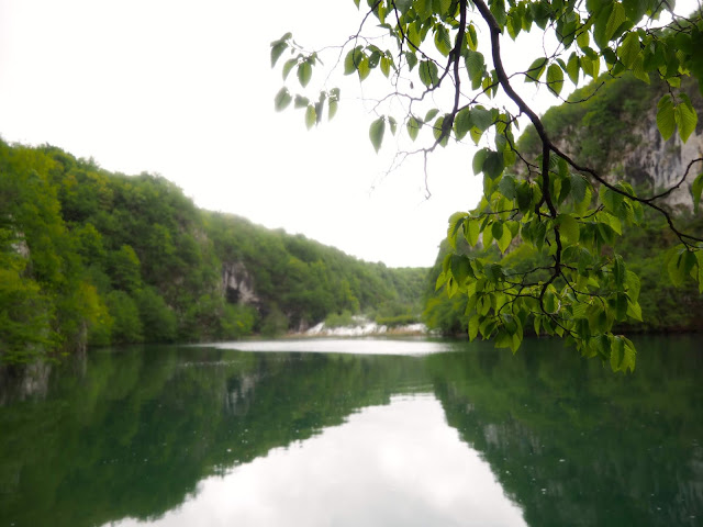 Waterfall while crossing the river at Plitvice Lakes National Park, Croatia