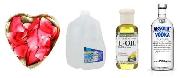 Ingredientes para hacer agua de rosas