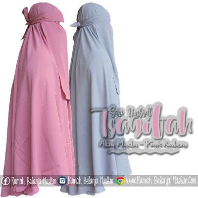 Jilbab Cadar Warna Pastel Wollycrepe Abu Muda - Pink Kalem