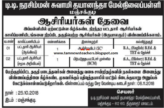 BT Teachers Wanted - Govt Aided - Last Date To Apply 08.11.2018