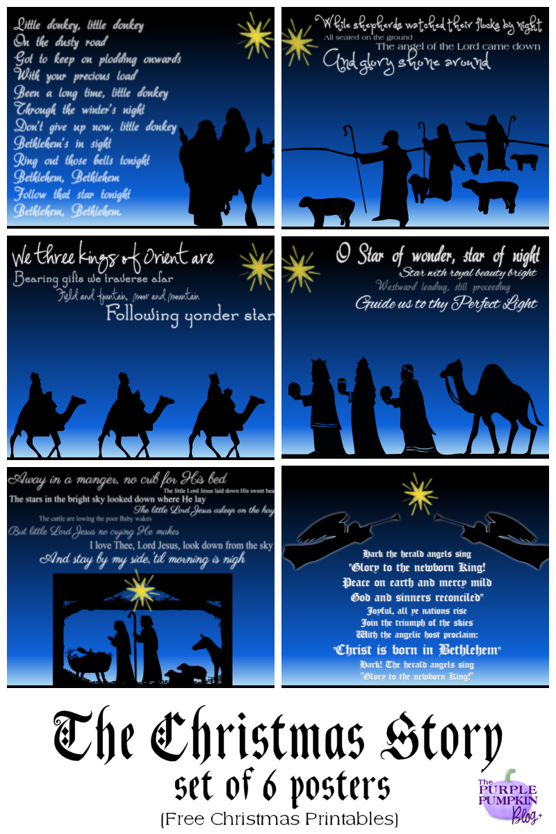 "6 free printable posters telling the Christmas story through traditional carols. Designed to fit in 8x10"" frame. Print one, or print all six and display for Christmas"