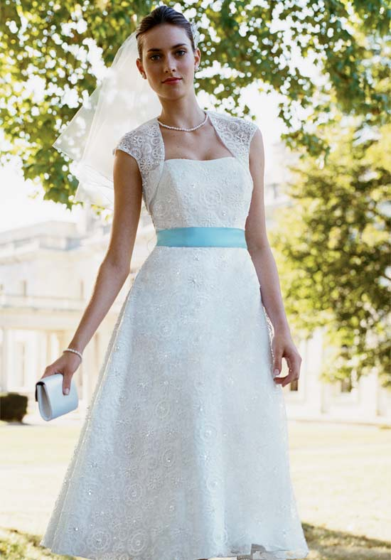I Heart Wedding Dress Tea Length White Gown With Blue Sash
