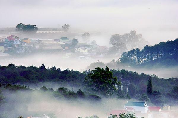 Hình ảnh nhìn cảnh Đà Lạt trong làng sương mù