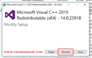 Uninstall Microsoft Visual C++ 2015 (x64) - 14.0.23918