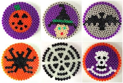 Hama bead Halloween themed coasters