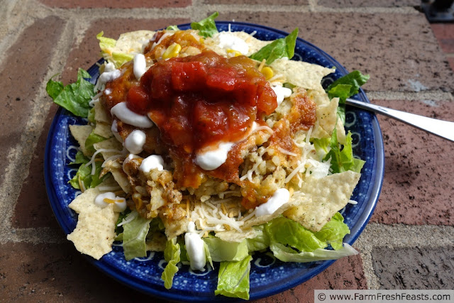 http://www.farmfreshfeasts.com/2013/05/mexican-chicken-lentil-rice-bake-salad.html