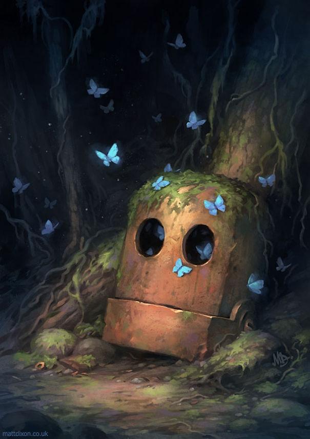 04-Matt-Dixon-Illustrations-of-Lonely-Robots-Experiencing-The-World-www-designstack-co