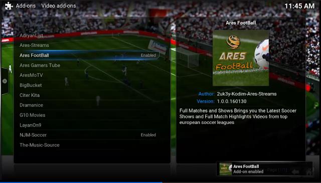تركيب إضافة Ares FootBall على برنامج kodi xbmc
