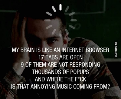 funny meme brain is like an internet browser
