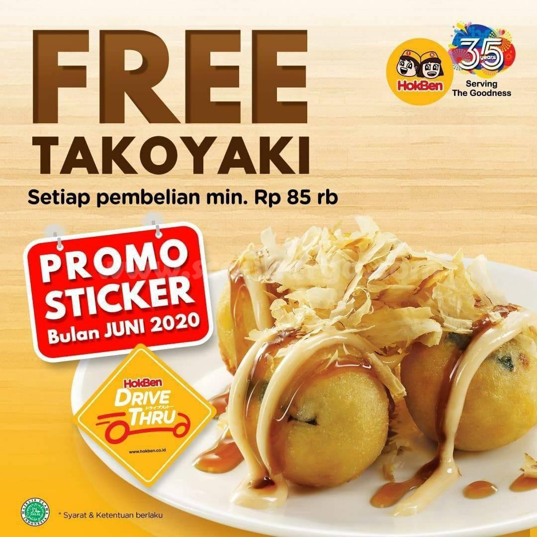 Promo Hokben Gratis Takoyaki - Promo Sticker Drive Thru Bulan Juni 2020