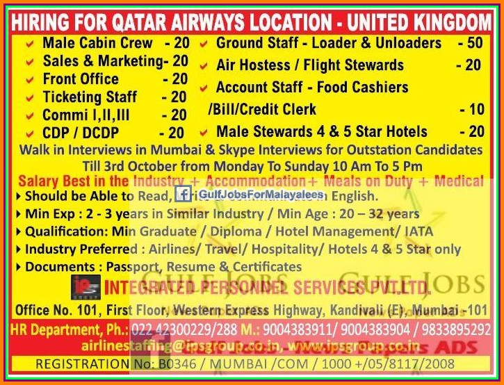 Qatar Airways Uk Job Vacancies Gulf Jobs For Malayalees