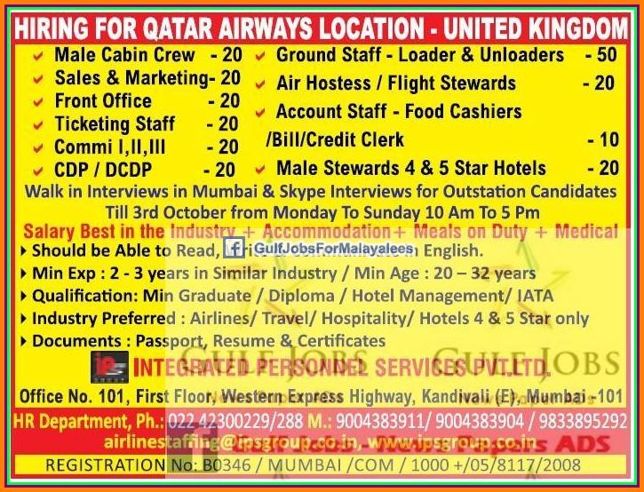Qatar Airways UK Job Vacancies - Gulf Jobs for Malayalees