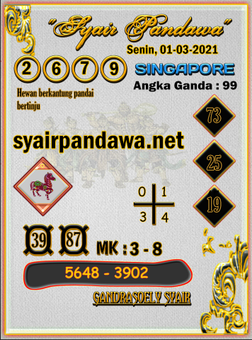 Gambar Syair Pandawa Sgp senin 01 maret 2021
