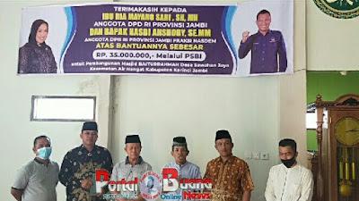 DPD RI Ria Mayang Sari SH MH Salurkan Bantuan Untuk Masjid Baiturrahman Sawahan Jaya