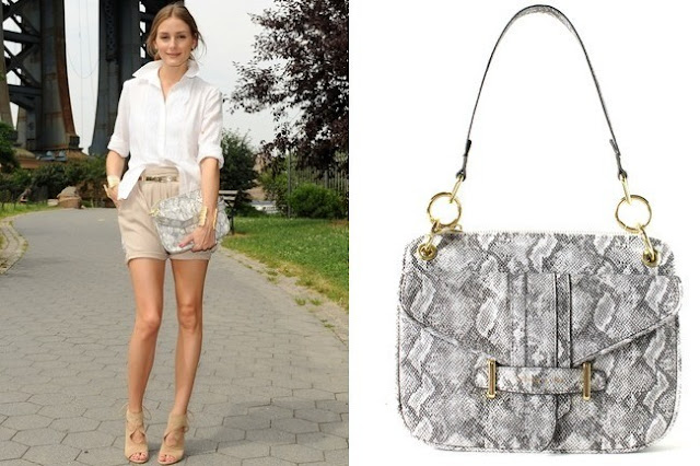 Olivia Palermo's  Olivia + Joy  Python Bag - Out in New York City