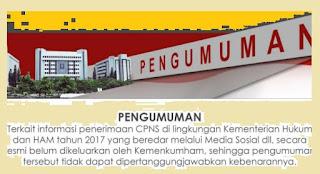 cpns kemenkumham pendaftaran 2017