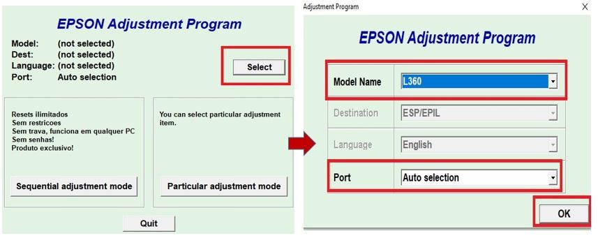 langkah reset printer epson L360