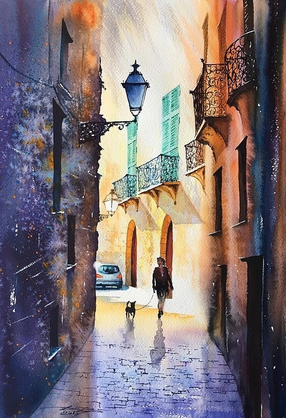 12-Palma-de-Mallorca-Igor-Dubovoy-A-Love-for-Travelling-and-Realistic-Watercolour-Paintings-www-designstack-co