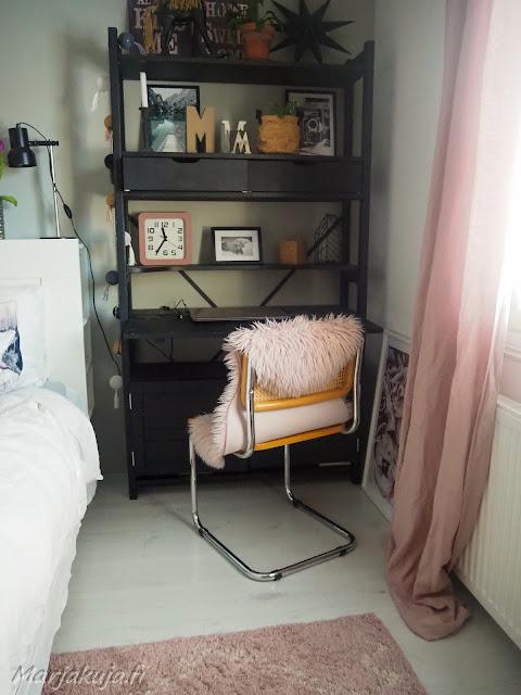 makuuhuone, roosa, sisustus, ellos tanger, matto, ryijymatto