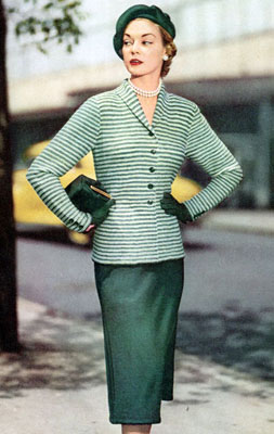 The Vintage Pattern Files : Free 1950's Knitting Pattern - Day in Town Jacket & Skirt