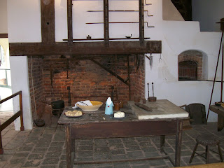 Mount Vernon kitchen with large cooking hearth.