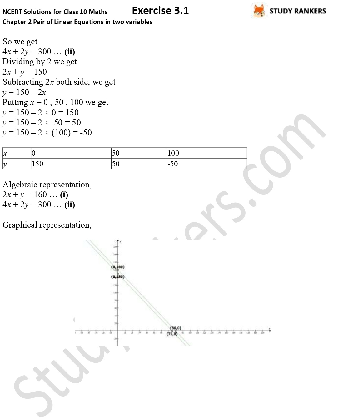 NCERT Solutions for Class 10 Maths Chapter 3 Pair of Linear Equations in Two Variables Exercise 3.1 Part 4