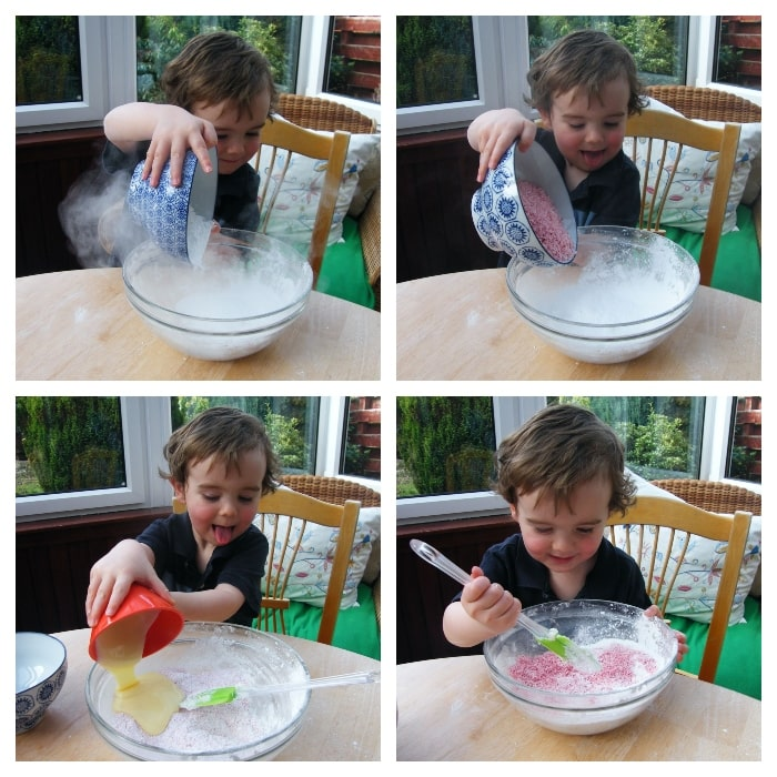 Making Coconut Ice - Step 4 - pink mixture mixed in same way