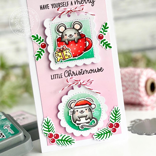 Sunny Studio Stamps: Merry Mice Season's Greetings Scalloped Tag Dies Holiday Card by Leanne West