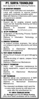 Lowongan Kerja PT. Surya Teknologi (Ditutup 16 Januari 2021)