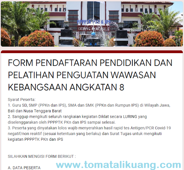 pendaftaran peserta diklat wawasan kebangsaan wasbang angkatan 8 tahun 2021 guru sd ppkn ips smp sma tomatalikuang.com
