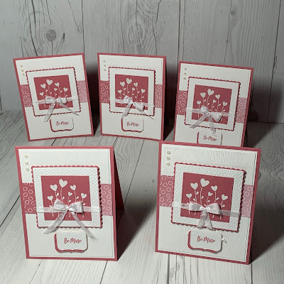 Valentine's Day Card with heart flowers and Rococo Rose Oh So Ombre Designer Series Paper