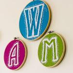 Reverse Embroidery Hoop Monogram