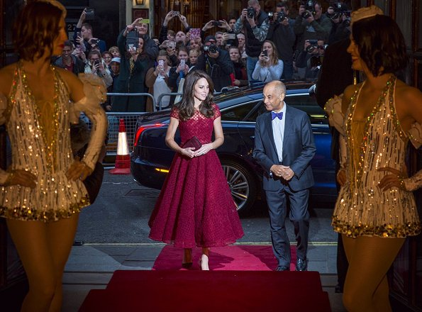 Kate Middleton wore Marchesa Notte embellished tulle dress, Kate Spade Pretty Pom Tassel Drop Earrings and Gianvito Rossi Pumps for the event