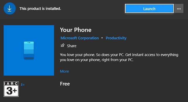 aplikasi your phone di ms store
