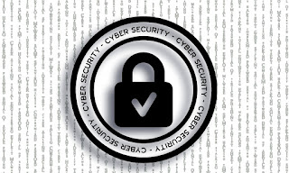 Black and white logo showing the words Cyber Security with a lock icon