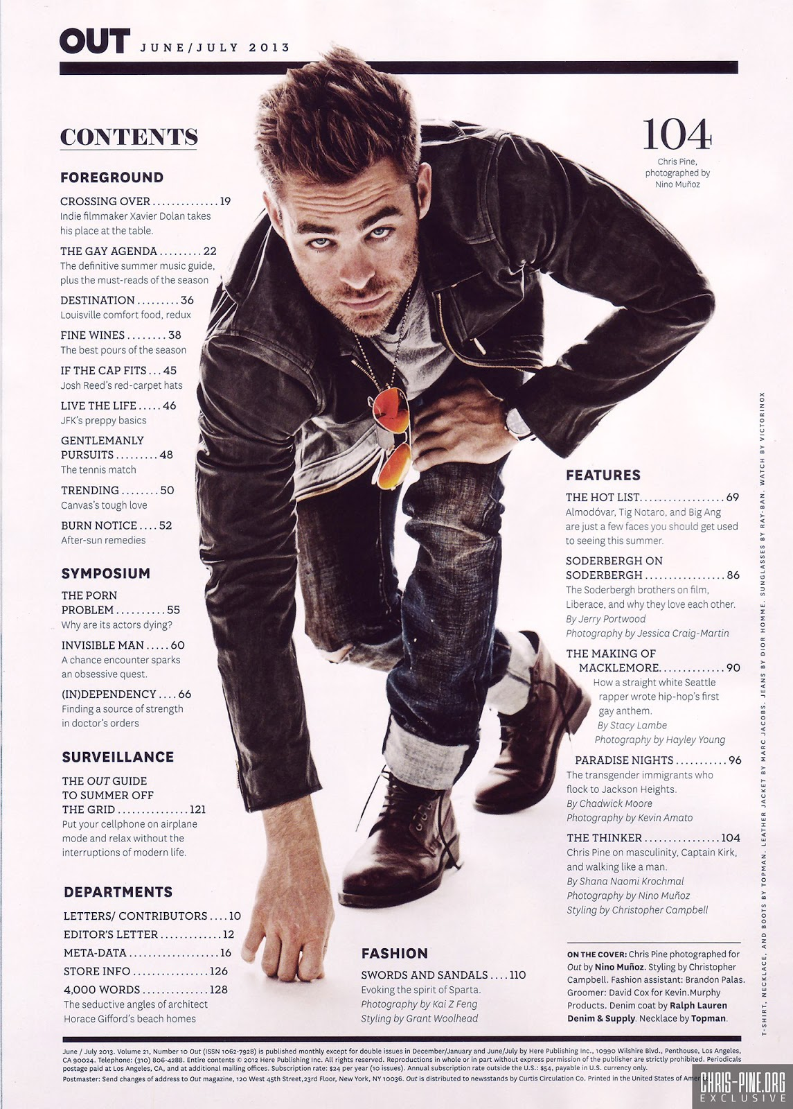 go see GEO ...: Fierce Friday: Chris Pine for OUT Magazine ...