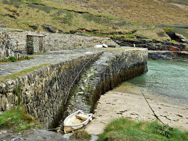 The old harbor wall at Boscastle, Cornwall
