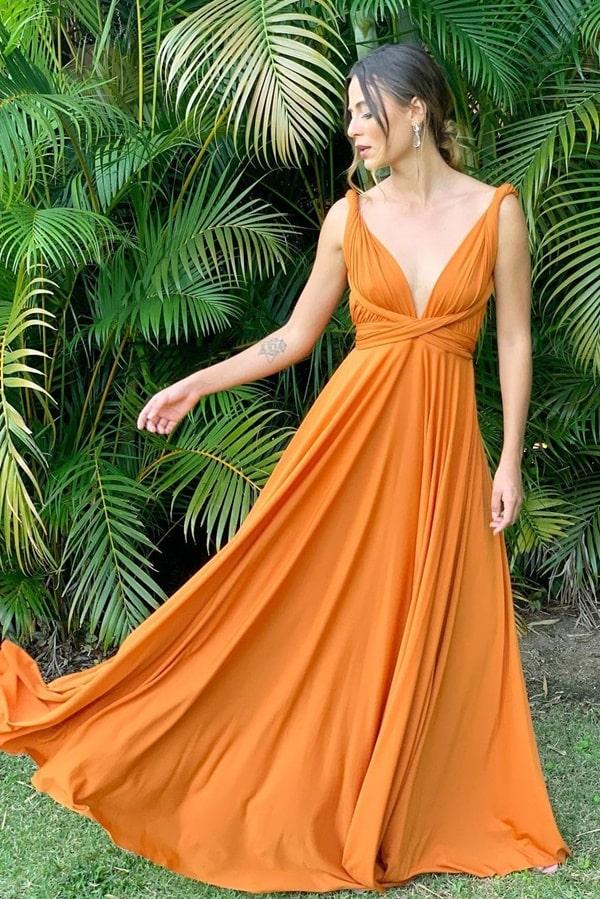 vestido longo multiformas terracota
