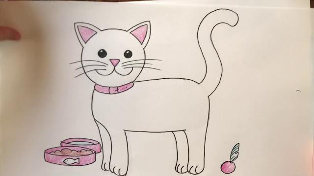 طريقة رسم قطة بطريقة سهلة للأطفال