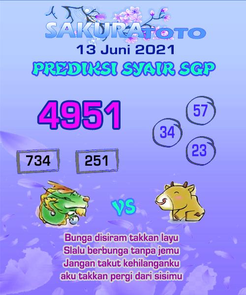 Syair Sakuratoto Singapore Minggu 13 Juni 2021